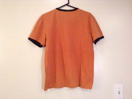 Orange Brown with Black Trim Short Sleeve T Shirt Turkey Embroidered Size Medium image 2
