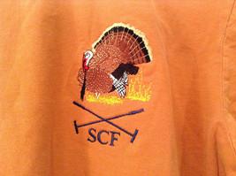 Orange Brown with Black Trim Short Sleeve T Shirt Turkey Embroidered Size Medium image 4