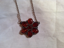 Orange Amber Antiqued Silver Pendent Necklace Circle Clasp Closure image 2