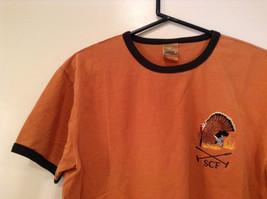 Orange Brown with Black Trim Short Sleeve T Shirt Turkey Embroidered Size Medium image 3