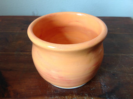Orange Hand Crafted Artisan Ceramic Vase Jar Bowl Crock 2007 image 4