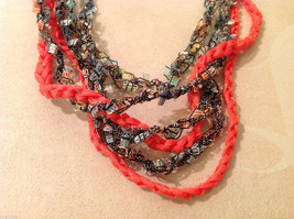 Orange Multicolored Knit Fabric Head Band or Necklace with orange beads image 2