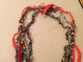 Orange Multicolored Knit Fabric Head Band or Necklace with orange beads image 3