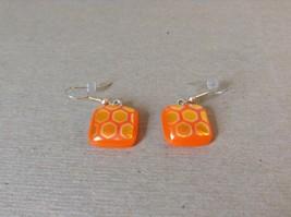 Orange Gold Tone Enamel Hexagon Pattern Squared Shaped Glass Dangling Earrings image 2