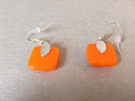 Orange Gold Tone Enamel Hexagon Pattern Squared Shaped Glass Dangling Earrings image 4