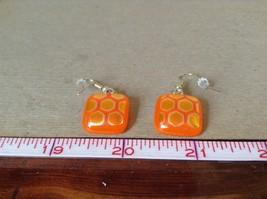 Orange Gold Tone Enamel Hexagon Pattern Squared Shaped Glass Dangling Earrings image 5