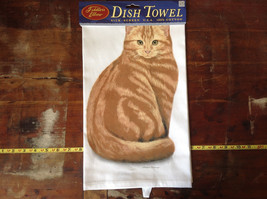 Orange Tabby Cat Dish Towel by Fiddlers Elbow Tag Attached image 2