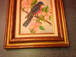 Original Painting Blue Bird on a Branch Beautiful Wooden Frame image 6