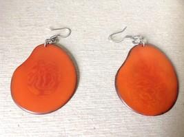 Orange Red Flat Tagua Earrings Dyes Handmade Black Outline Dangling image 2