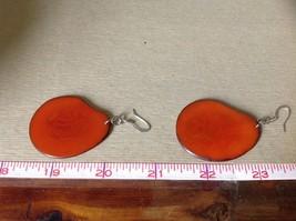 Orange Red Flat Tagua Earrings Dyes Handmade Black Outline Dangling image 4