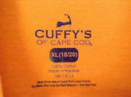 Orange Cuffys of Cape Code Beach Buddy T Shirt Size XL 18 to 20 image 5