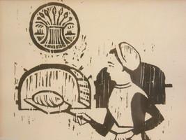 Original Wood Block Print of a Baker Artist Constantine Kermes 1965 image 2