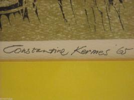 "Original Wood Block Print ""Dumpling Maker"" Artist Constantine Kermes 1965 image 5"