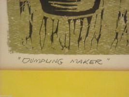 "Original Wood Block Print ""Dumpling Maker"" Artist Constantine Kermes 1965 image 4"