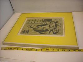 "Original Wood Block Print ""Dumpling Maker"" Artist Constantine Kermes 1965 image 7"