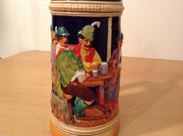 "Ornamental Vintage Collectible Beer Mug Stein ""Hunters rest"" with lid,  Europe image 2"