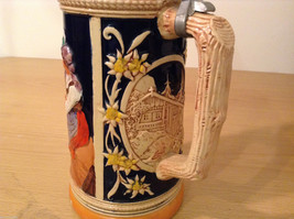 "Ornamental Vintage Collectible Beer Mug Stein ""Hunters rest"" with lid,  Europe image 5"