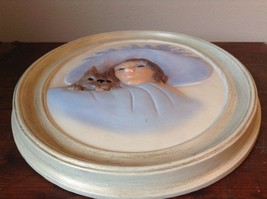 Oval Wall Picture in Frame Handmade Girl with Dog image 3
