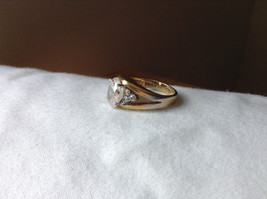 Oval CZ Stone Gold Plated Ring Size 6 image 2