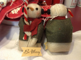 Pair of too cute felted snowman w candy canes and Be Merry Sign jacket and scarf image 4