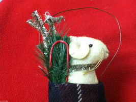 """Pair of Tan Christmas Mice in """"Joy"""" Mitten - Comes with Hanging Wire image 2"""