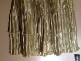 Pale Green Calf Length Pleated Skirt Shiny Material by Magic Scarf Co. image 3