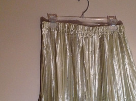 Pale Green Calf Length Pleated Skirt Shiny Material by Magic Scarf Co. image 2
