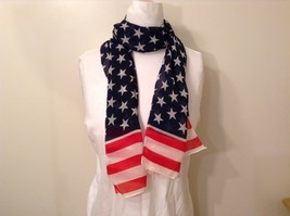 Patriotic American Flag Scarf Navy Blue Red White 100 Percent Polyester NEW image 2