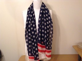 Patriotic American Flag Scarf Navy Blue Red White 100 Percent Polyester NEW image 3