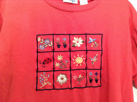 Paul Harris Design Red Short Sleeve T Shirt with Flowers on Front Size Small image 2