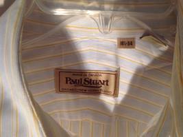 Paul Stuart Light Blue and Yellow Stripes Long Sleeve Button Up Shirt Size 16.5 image 2