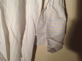 Paul Stuart Light Blue and Yellow Stripes Long Sleeve Button Up Shirt Size 16.5 image 4