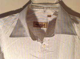Paul Stuart Light Blue and Yellow Stripes Long Sleeve Button Up Shirt Size 16.5 image 3
