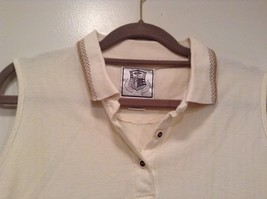 Pebble Beach Size S Natural White Cream Colored Sleeveless Shirt All Cotton image 2