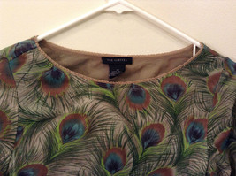 Peacock Feather Pattern The Limited Top Double Layers Green Beige Size Medium image 3