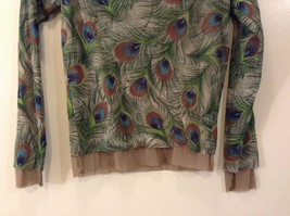 Peacock Feather Pattern The Limited Top Double Layers Green Beige Size Medium image 7