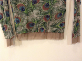 Peacock Feather Pattern The Limited Top Double Layers Green Beige Size Medium image 4