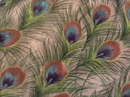 Peacock Feather Pattern The Limited Top Double Layers Green Beige Size Medium image 5