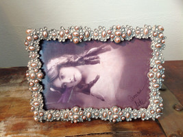 Pearl Like Decorated Metal Antiqued Photo Frame Bubble Looking Design image 2