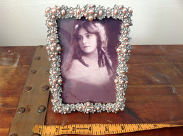 Pearl Like Decorated Metal Antiqued Photo Frame Bubble Looking Design image 8