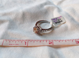 Peach Stone CZ Compliments Beautiful Silver Ring Size 8 image 9