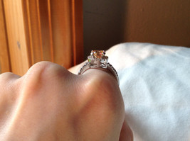 Peach Stone CZ Compliments Beautiful Silver Ring Size 8 image 8