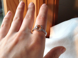 Peach Stone CZ Compliments Beautiful Silver Ring Size 8 image 6