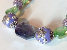 Purple Light Purple Green Beaded String Necklace 16 Inches Long image 2