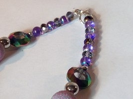 Purple Light Purple Green Beaded String Necklace 16 Inches Long image 4