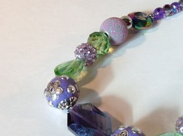 Purple Light Purple Green Beaded String Necklace 16 Inches Long image 5