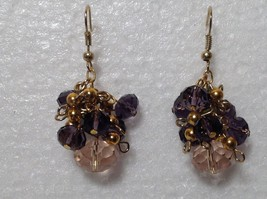 Purple Pink Bunched Bead Gold Tone Dangling Earrings Hook Backing image 3