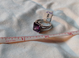 Purple Square Cut CZ Set Stainless Steel Ring Sizes 7 and 8 and 9  image 8