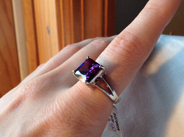 Purple Square Cut CZ Set Stainless Steel Ring Sizes 7 and 8 and 9  image 3