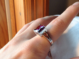 Purple Square Cut CZ Set Stainless Steel Ring Sizes 7 and 8 and 9  image 7